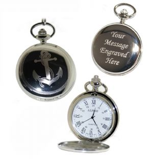 Anchor Pocket Watch Roman Numerals Quartz